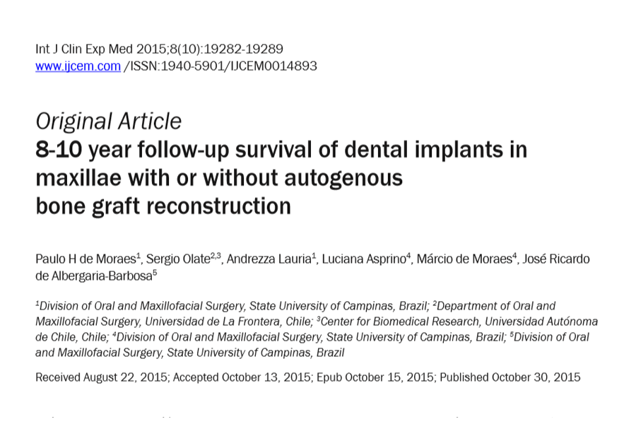 8-10 year follow-up survival of dental implants in maxillae with or without autogenous bone graft reconstruction